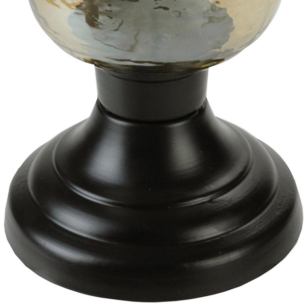 "15.5"" Decorative Golden Luster Hurricane Pillar Candle Holder"""