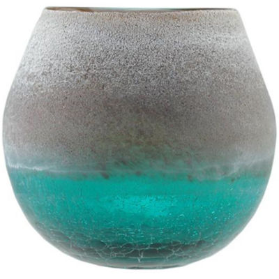 "6"" Teal Blue Crackled and Brown Frosted Hand Blown Decorative Glass Vase"""