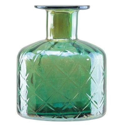 "7.5"" Lustrous Diamond Patterned Hand Blown Glass Vase"""