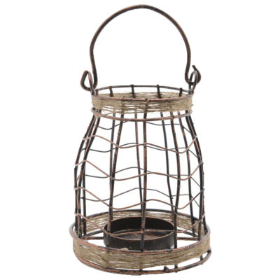 """7.5"""" Seaside Treasures Black and Copper Tea LightCandle Holder with Jute Accents"""""""