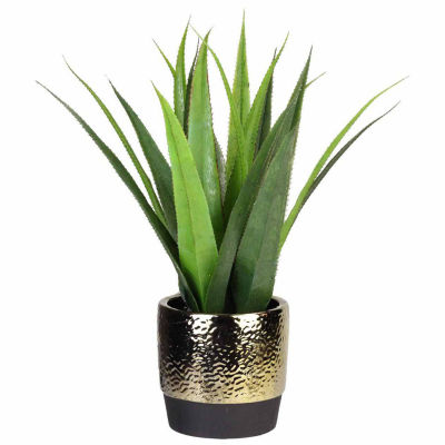 "17"" Artificial Succulent Agave in Decorative Gold Plated Round Ceramic Pot"""