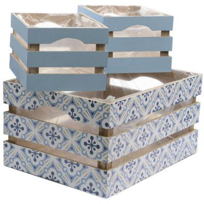 "Set of 3 French Countryside Rectangular Wooden Decorative Storage Box Nesting Crates 13.5"""