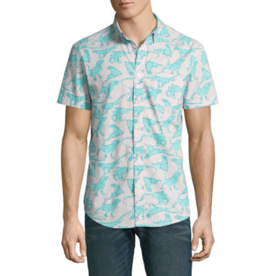 Arizona Mens Y Neck Short Sleeve Button-Front Shirt