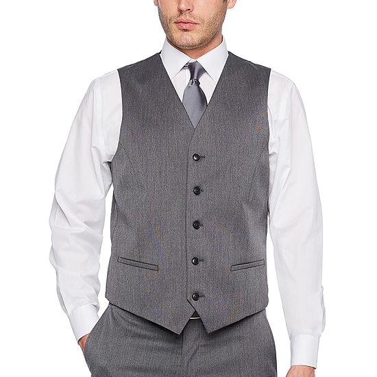 JF J.Ferrar Mens Pin Dot Slim Fit Suit Vest