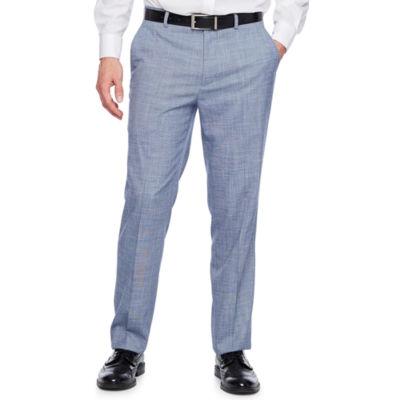 JF J.Ferrar Blue Slub Slim Fit Stretch Suit Pants