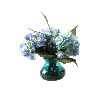 Large Blue Hydrangeas Deer Fern and Queen Anne's Lace in Glass Vase