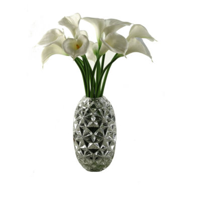 Large White Calla Lilies in Glass Vase