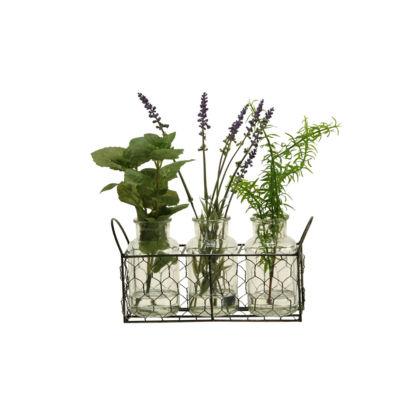 Lavender Mint and Springeri Set in 3 Glass Bottlesin Metal Holder