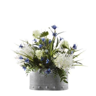 Alliums Blue Spike Flowers and Greenery in Metal Planter