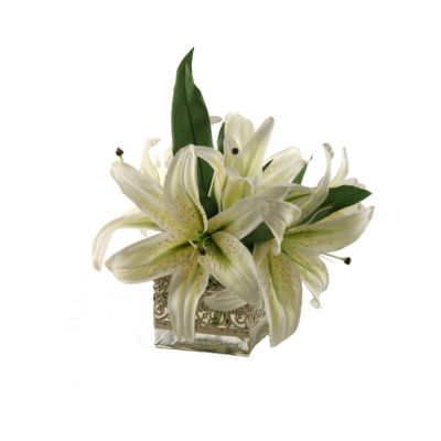 Lilies in Glass Cube with Metal Collar