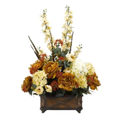 Gold Peonies Cream Hydrangeas and Ranunculus in Resin Planter