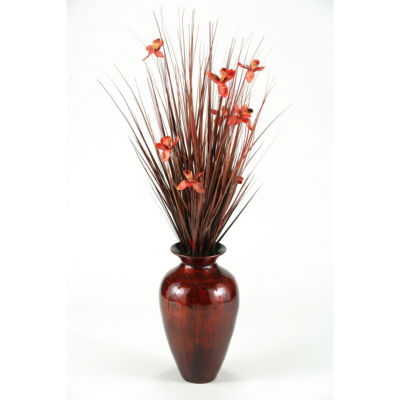 Ting with Burgundy Blossoms in Burnt Copper Spun Bamboo Vase