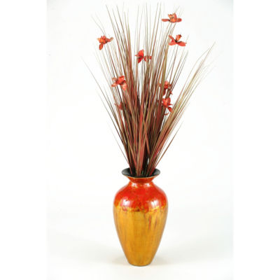 Ting with Red Blossoms in Red Gold Spun Bamboo Vase