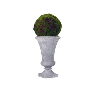 Moss Ball in Tall Cement Urn