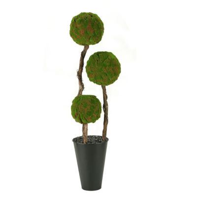 Moss Ball Topiary in Tall Metal Planter