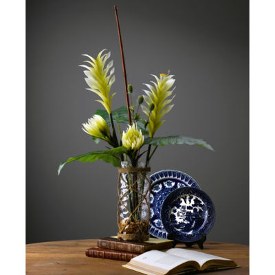 Heliconia Protea and Philo Branches in Crackled Glass Cylinder Wrapped in Rope