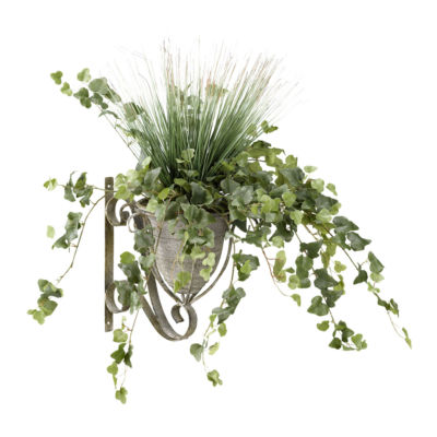 Onion Grass and Ivy in Metal Wall Sconce