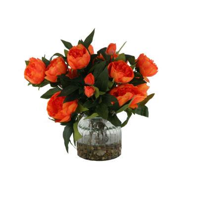 Orange Peonies in Ribbed Glass