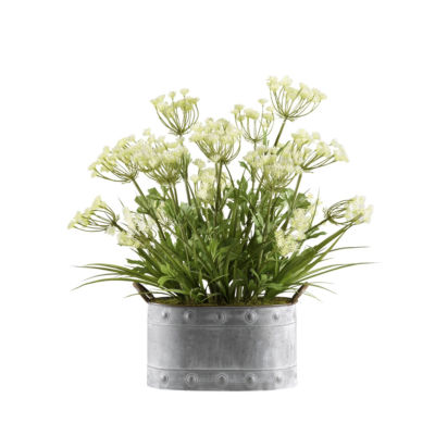 Queen Anne's Lace and Grass in Metal Planter