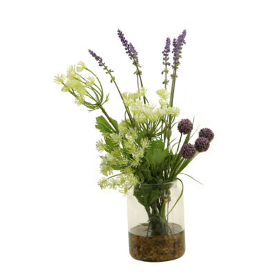 Queen Anne's Lace Lavender and Lavender Globe Flower in Glass Candle Jar