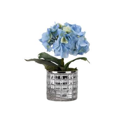 Blue Hydrangea in Mirrored Glass Vase