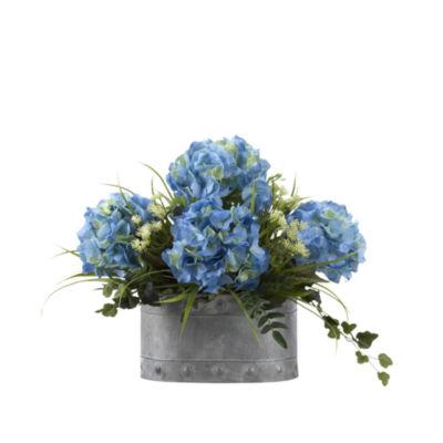 Blue Hydrangeas in Metal Planter