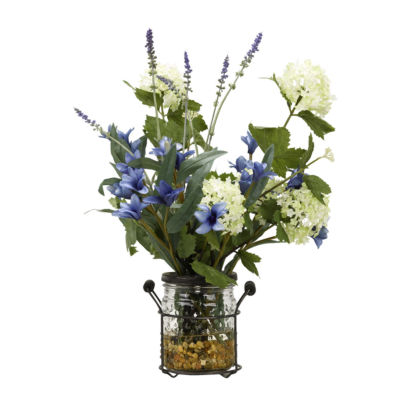 Blue Spike Flowers Snowball Branches and Lavenderin Glass Jar with Metal Holder