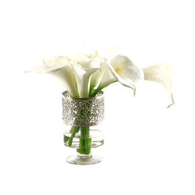 Calla Lilies in Glass Pedestal Vase with Metal Collar