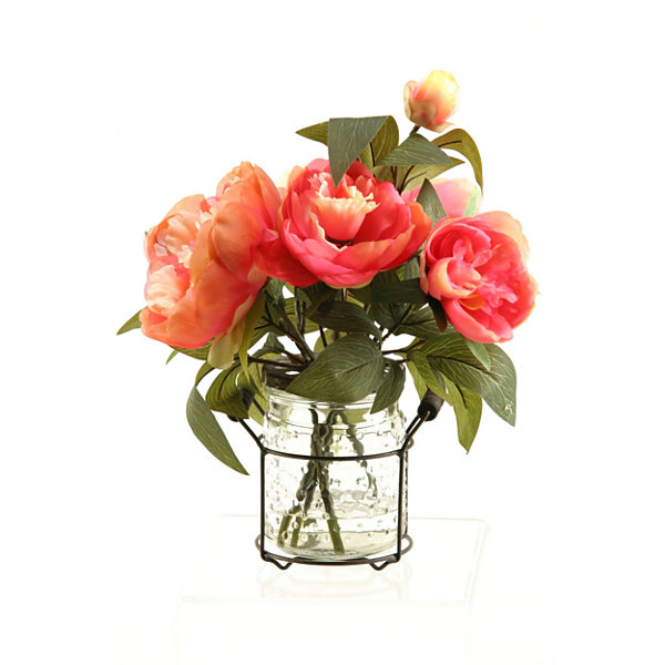Pink Peonies in Glass Jar with Metal Handle