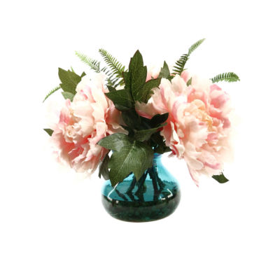 Pink Peonies in Glass Vase