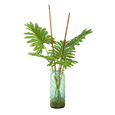 Selloum Philo Leaf Branches in Seeded Glass Vase