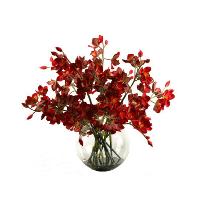Cherry Red Cymbidium Orchids in Glass Bubble Bowl