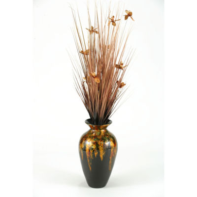 Copper Ting with Blossoms in Mardi Gras Spun Bamboo Vase