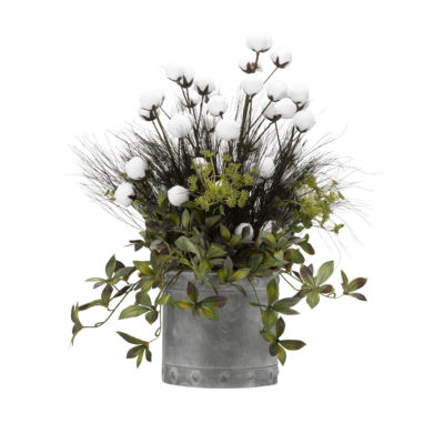 Cotton Ball Branches and Foliage in Metal Planter
