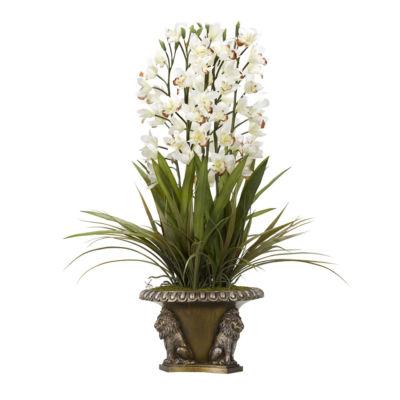 Cream Cymbidium Orchids in Resin Lion Bowl