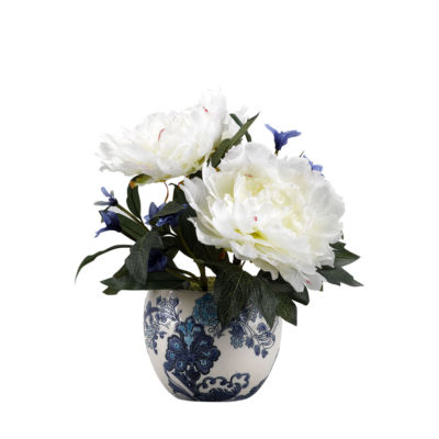 Cream Peonies in Ceramic Planter