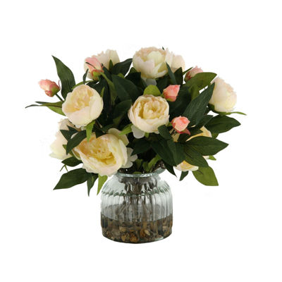 Cream Peonies in Ribbed Glass Vase