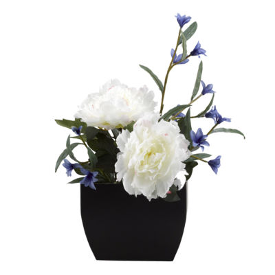 Cream Peony and Blue Wild Flowers in Metal Planter