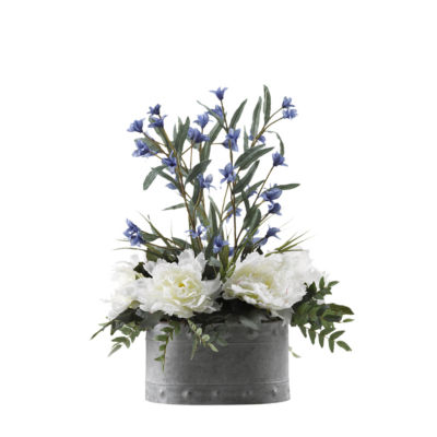 Cream Pink Peonies and Blue Wild Flowers in Metal Planter
