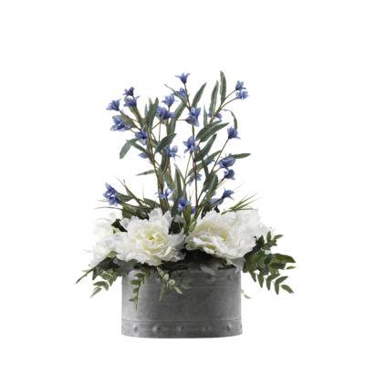 Cream Pink Peonies and Blue Wild Flowers in MetalPlanter