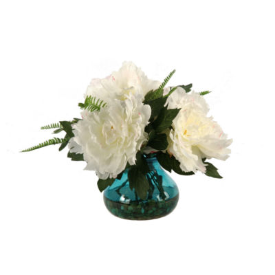 Cream Pink Peonies in Glass Vase