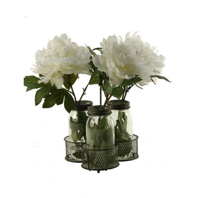 Cream Pink Peonies Set in 3 Glass Jars in Metal Holder