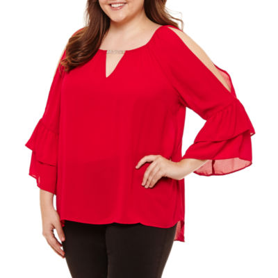 by&by 3/4 Sleeve V Neck Crepe Ruffled Blouse-Juniors
