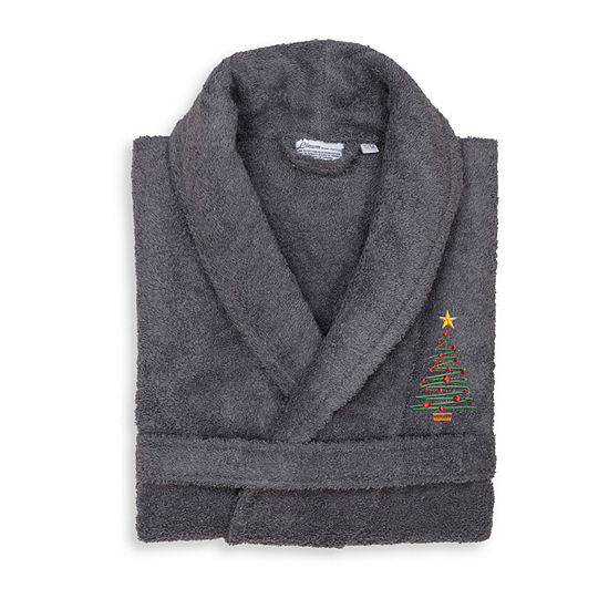 Linum Home 100 Turkish Cotton Terry Bath Robe Embroidered With Christmas Tree Design