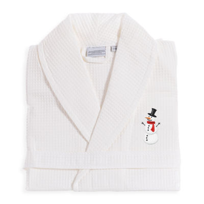 Linum Home 100% Turkish Cotton Waffle Weave Embroidered Bathrobe - Snowman