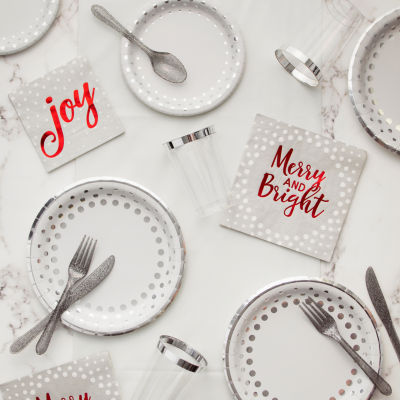 Creative Converting Silver Sparkle and Shine Christmas Party Supplies Kit