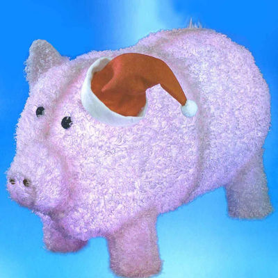 """28"""" Pre-Lit LED Outdoor Chenille Pig in Santa Hat Christmas Yard Art Decoration"""""""