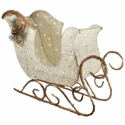"39"" Elegant White Sisal Glittering Lighted Christmas Sleigh Yard Art Decoration"""