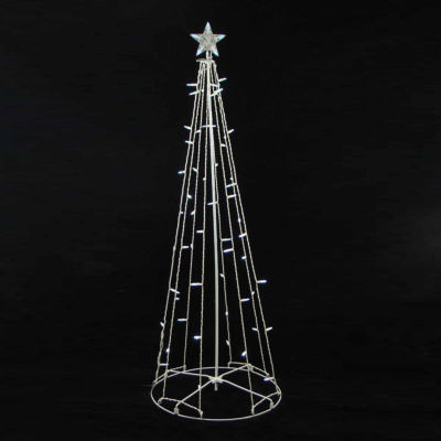 5' Cool White LED Lighted Outdoor Show Cone Christmas Tree Yard Art Decoration