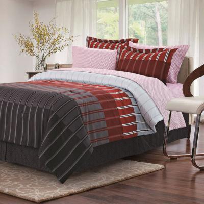 Brown & Grey Ombre Stripe Complete Bedding Set
